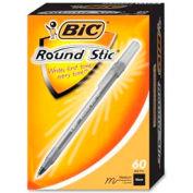 BIC® Round Stic, stylo à bille, moyenne, encre noire, 60/boîte