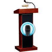 Oklahoma Sound Fixed Height Orator Podium / Lectern & Wireless Tieclip / Lavalier Mic, Mahogany