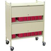Omnimed® Standard Vertical Cabinet Chart Rack with Locking Panel, 16 Binder Capacity, Woodgrain