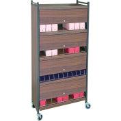 Omnimed® Standard Vertical Cabinet Chart Rack with Locking Panel, 32 Binder Capacity, Woodgrain