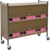 Omnimed® Large Vertical Cabinet Chart Rack with Locking Panel, 24 Binder Capacity, Woodgrain