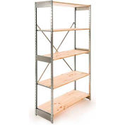 "Excalibur Stockroom Shelving, SD6153684, 36""W X 15""D X 84""H, Galvanized/Pine, 6-Shelf-Starter"
