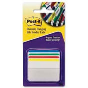 "Post-it® Durable Hanging File Folder Tabs, 2"" Angled Lined, Primary Colors, 24 Tabs/Pack"