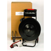 """Pac Strapping Steel Kit w/ Tensioner/Sealer/Seals/Cutter & Cart, 2353'L x 5/8"""" Width Coil, Black"""