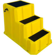 """3 Step Nestable Plastic Step Stand - Yellow 26""""W x 43""""D x 28""""H - NST-3 YEL"""