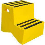 Marchepied en plastique à 2 marches – jaune,21 po larg. x 241/2 po prof. x 19-1/2 po haut. –ST-2