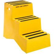 Marchepied en plastique à 3 marches – jaune,20 po larg. x 331/2 po prof. x 28-1/2 po haut. –ST-3