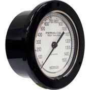 """Perma-Cal 101FTM15A01, 4.5"""" Dial, 0-5,000 psi, 1/4"""" NPT, Rear Mount,SS Connection,BLK Front Flange"""
