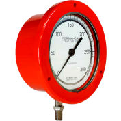 """Perma-Cal 101FTM27R21, 4.5"""" Dial, 0-30 psi, 1/4"""" NPT, Bottom Mount, SS Connection, RD Front Flange"""