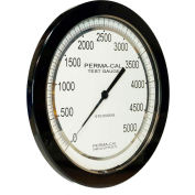 "Perma-Cal 108FTM15A21, 8.5"" Dial, 0-5,000 psi,1/4"" NPT,Bottom Mount,SS Connection,BLK Front Flange"