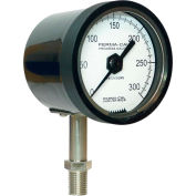 "Perma-Cal 123NID27A21, 2.5"" Dial, 0-30 psi, 1/4"" NPT, Bottom Mount, SS Connection, BLK No Flange"