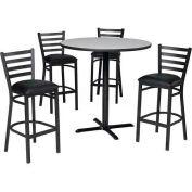 "Premier Hospitality 36"" Square Table & Barstools w/ Ladder Back - Nepal Teak/Black Vinyl"