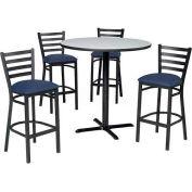 "Premier Hospitality 36"" Round Table & Barstools w/ Ladder Back - Gray Nebula /Slate Blue Vinyl"