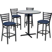 "Premier Hospitality 36"" Round Table & Barstools w/ Ladder Back - Nepal Teak /Slate Blue Vinyl"