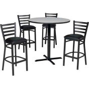 "Premier Hospitality 36"" Round Table & Barstools w/ Ladder Back - Nepal Teak /Black Vinyl"