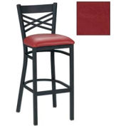 "Criss-Cross Back Bar Stool 17-1/2""W X 17""D X 41""H - Burgundy - Pkg Qty 2"