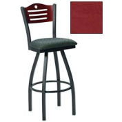 "Cherry 3 Slat-Back Swivel Bar Stool 17-1/2""W X 17""D X 42""H - Burgundy - Pkg Qty 2"