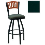 "Cherry 5 Wave-Back Swivel Bar Stool 17-1/2""W X 17""D X 42""H - Hunter Green - Pkg Qty 2"