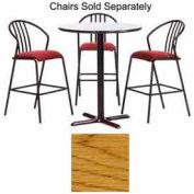 "Premier Hospitality Round Bar Table w/ X-Base 24""W x 24""D x 42""H - Medium Oak"