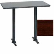 "Premier Hospitality Rectangular Bar Table with T-Base 30""W x 48""D x 42""H - Figured Mahogany"
