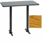 "Premier Hospitality Rectangular Bar Table with T-Base 30""W x 48""D x 42""H - Teak (Med Oak)"