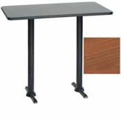 "Premier Hospitality Rectangular Bar Table with T-Base 30""W x 48""D x 42""H - Wild Cherry"