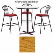 "Premier Hospitality Round Bar Table w/ X-Base 30""W x 30""D x 42""H - Medium Oak"