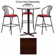 "Premier Hospitality Round Bar Table w/ X-Base 48""W x 48""D x 42""H - Figured Mahogany"