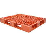 Stackable Plastic Pallet 47-3/8x39-1/2x6, 6600 lb Floor & 2200 lb Fork Cap.,Orange