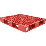 Stackable Plastic Pallet 47-3/8x39-1/2x6, 6600 lb Floor & 2200 lb Fork Cap., Red