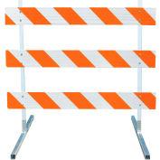 3308-HIP-LR-DRILL-KIT Type III Barricade W/ Plastic Uprights & Steel Tube Feet, HIP Striped Sheeting