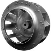 "Backward Incline Centrifugal Wheel, Rated 3450 RPM, Riveted, Aluminum, 10"" Dia., 4-13/16""W, Keyway"