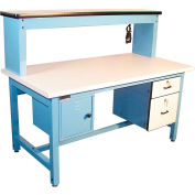 """Global Industrial™ Bench-In-A-Box Technical Workbench, ESD Laminate Top, 72""""Wx30""""D, Blue"""