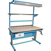 "Pro-Line BIB15 Bench-In-A-Box Ergonomic Workbench - 60""W x 30""D Plastic Laminate Top - Blue"