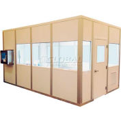 Portafab Modular Cleanroom, 12'L x 8'W, 1 HEPA Unit, 1 Light Fixtures, 3 Outlets, ISO 8, White