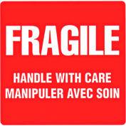 Étiquette de livraison bilingue « Fragile – Manipuler avec soin »,4 po x4 po