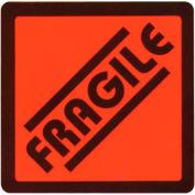 """Étiquette d'expédition fragile - sur papier Fluorescent rouge - 2 625 """"X 2,625"""" - bilingue"""