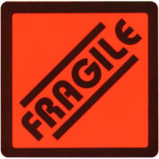 """Fragile Shipping Label -  On Red Fluorescent Paper - 2.625"""" X 2.625"""" - Bilingual"""