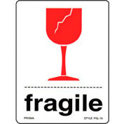 """Fragile Shipping Label -  With Broken Glass - 3"""" X 4"""" - Bilingual"""