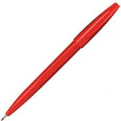 Pentel® Sign Pen, Water-Based Ink, Fiber Tip, Fine, Red Barrel/Ink, Dozen
