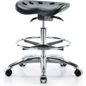 Blue Ridge Ergonomics™ Tractor Style Stool - With Chrome Foot Ring - Black