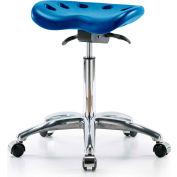 Interion® Tabouret tracteur en polyuréthane avec inclinaison du siège - Base bleue w/ Chrome