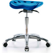 Interion® Polyurethane Tractor Stool With Seat Tilt - Blue w/ Chrome Base