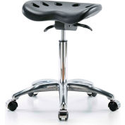 Interion® Polyurethane Tractor Stool With Seat Tilt - Black w/ Chrome Base