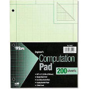 Engineering Computation Pad, 8-1/2x11, 3-Hole, 16 Lb. Green Bond, 100 Sheets/Pad