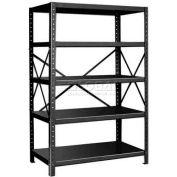 """Pucel™ Shelving Unit, 48""""W x 72""""H x 24""""D, 5 Levels, 14 GA Shelves, 10 GA Posts, Black"""