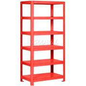 "Pucel™ Shelving Unit, 48""W x 65""H x 18""D, 6 Levels, 12 GA Shelves, Welded, Red"