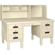 Double Pedestal Shop Desk w/ Filing Cabinet Putty