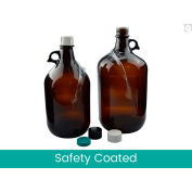 Qorpak® 135oz Safety Coated Amber Jug w/Pour Out 38-439 Neck Finish jug only, 6PK