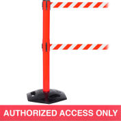 WeatherMaster Twin Red Post Retracting Belt Barrier, ADA Compliant, 11 Ft. Red Authorized Belt